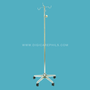 IV Stand with 5 Legged Base and 4 Hooks