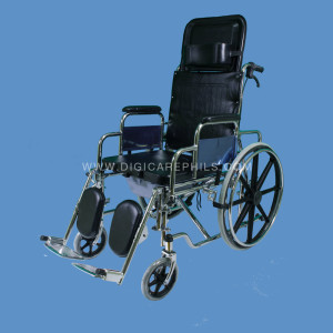Reclining Commode Wheelchair with Mag Wheels